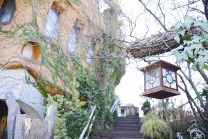 葉っぱの門を抜けて階段を登ります